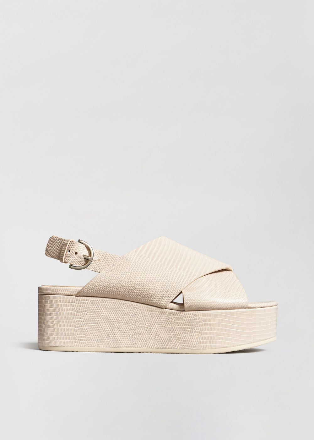Platform Sandal in Embossed Leather - Sand - CO Collections