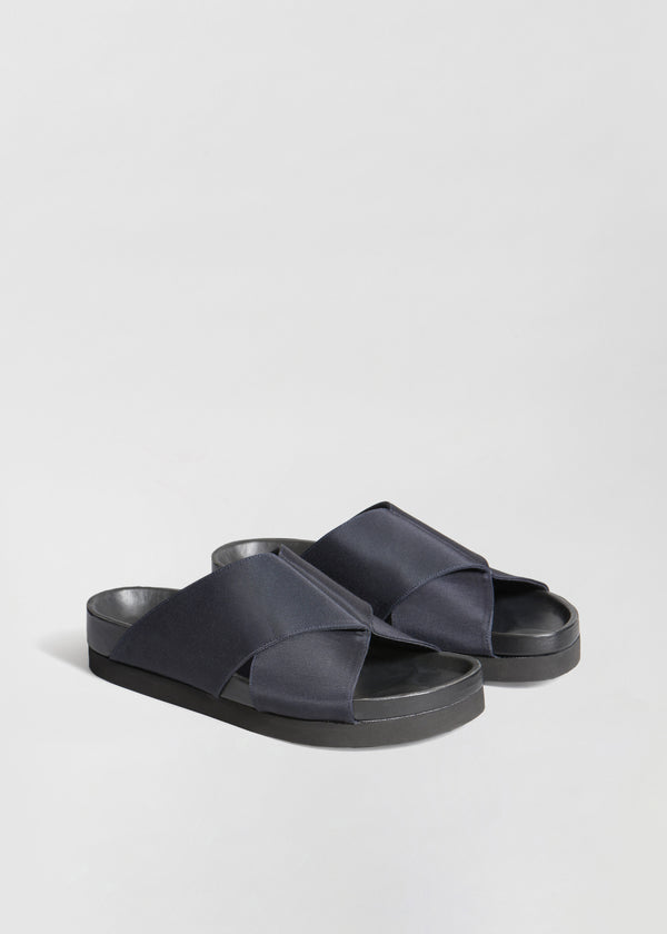 Slide Sandal in Grosgrain - Navy - CO