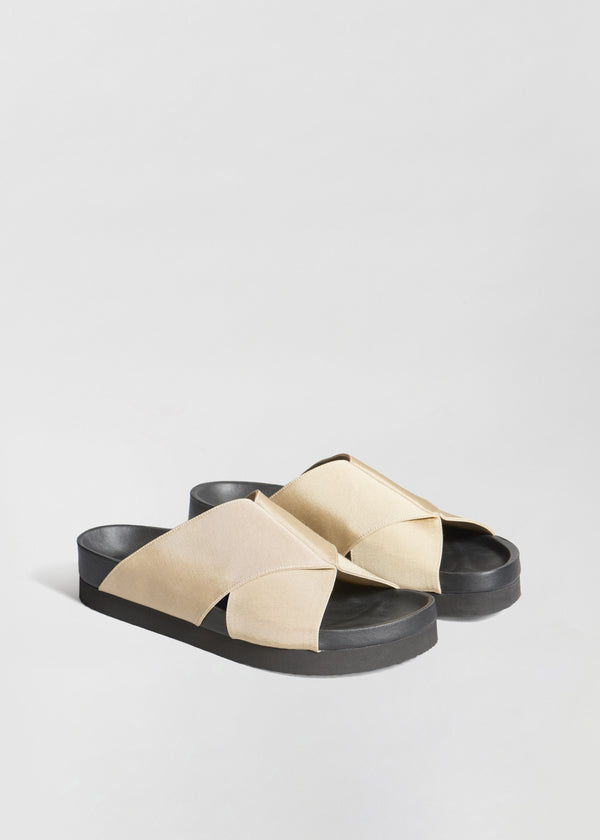 Slide Sandal in Grosgrain - Sand - CO