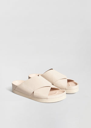Slide Sandal in Embossed Leather - Sand - CO