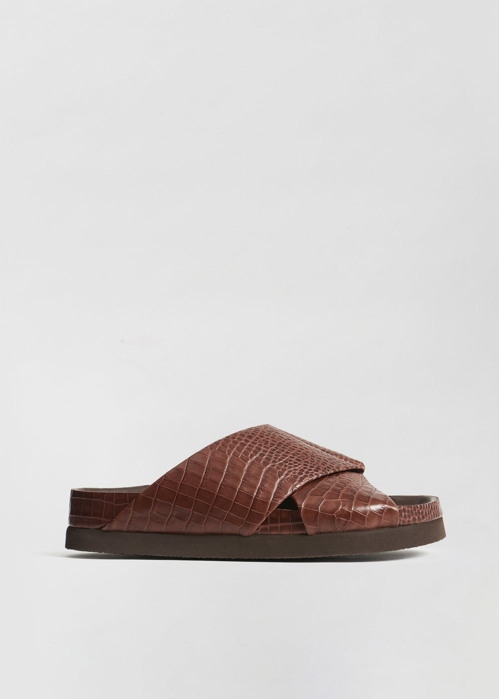 Slide Sandal in Embossed Leather - Dark Brown - CO Collections