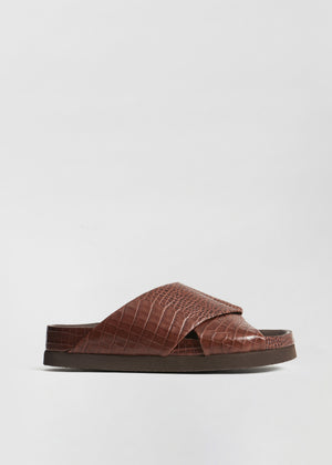 Slide Sandal in Embossed Leather - Dark Brown - CO