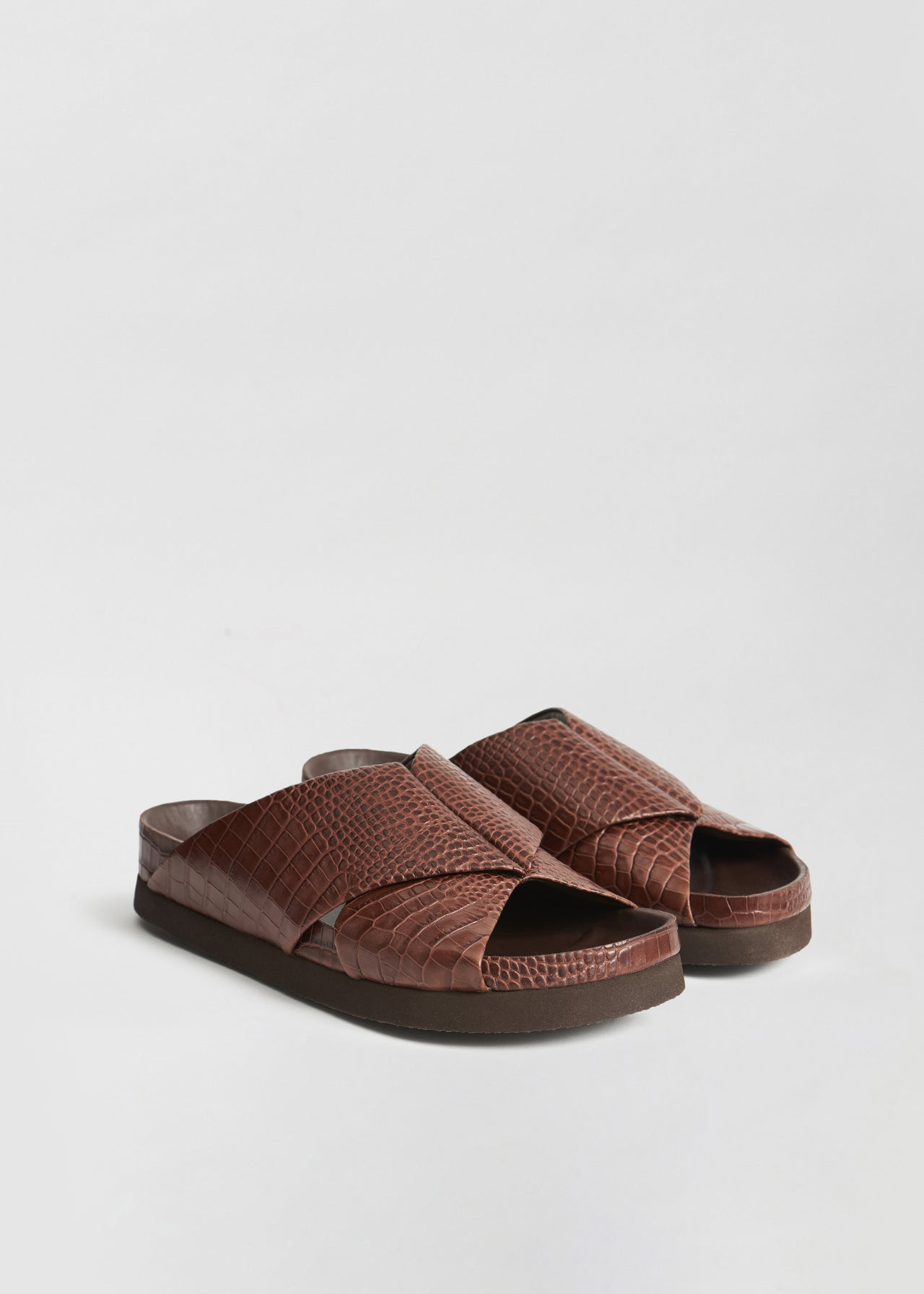 Slide Sandal in Embossed Leather - Dark Brown