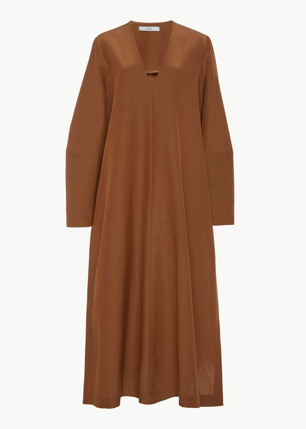 Long Sleeve V-Neck Dress in Faille - Copper - CO