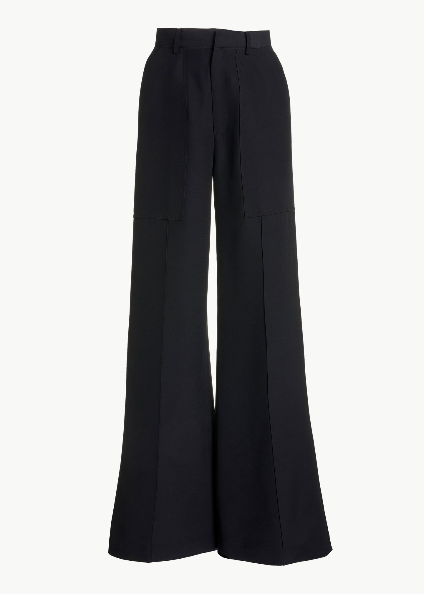Patch Pocket Pant in Viscose Wool - Black - CO