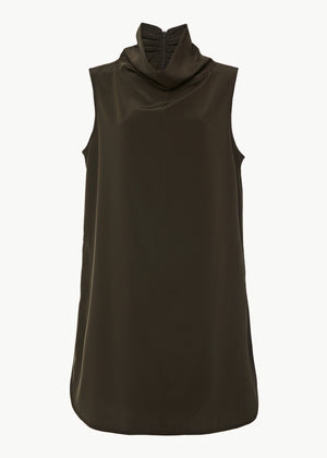 Cowl Neck Top in Stretch Crepe - Forest - CO