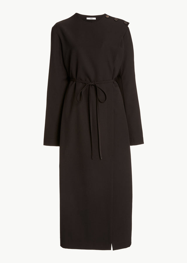 CO - Long Sleeve Dress in Gabardine - Umber
