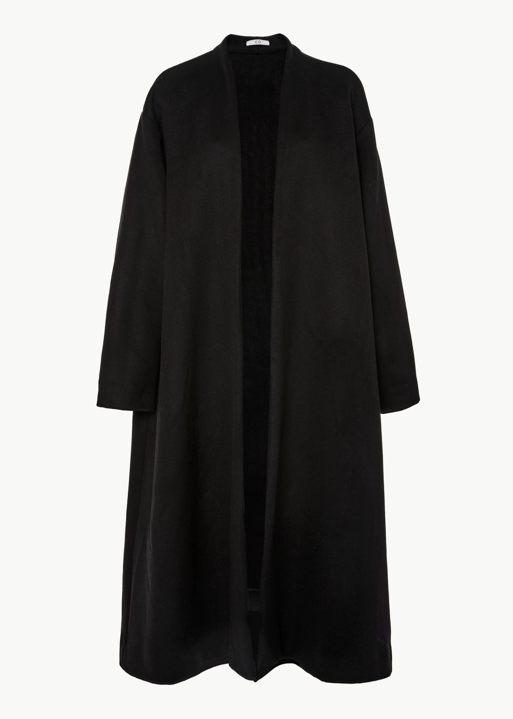 Coat with Self Belt in Cashmere Flannel - Black - CO