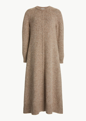 Crewneck Sweater Dress in Alpaca - Chestnut - CO