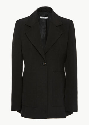 CO - Single Breasted Blazer in Viscose Linen - Black