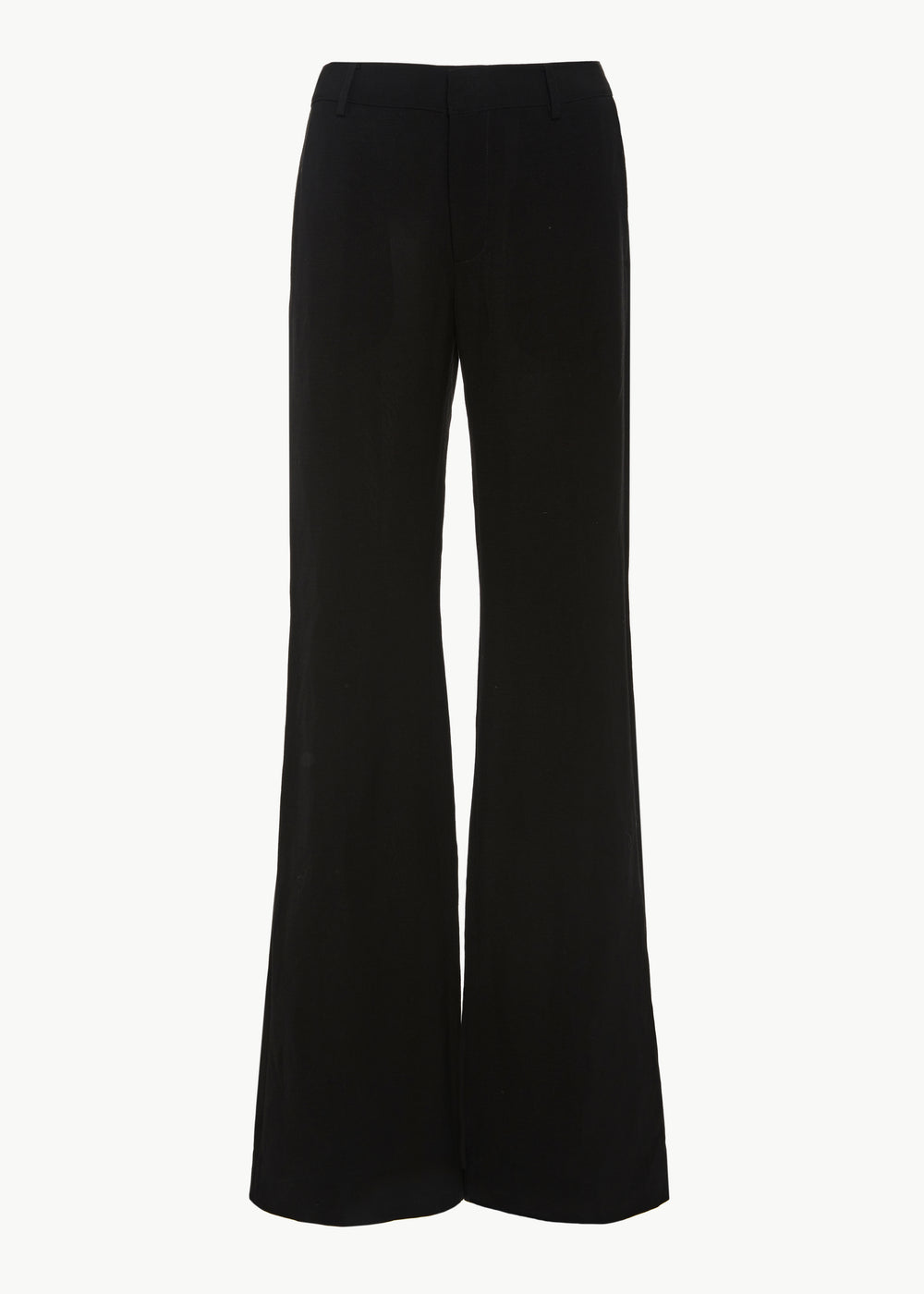 Flare Leg Trouser in Viscose Linen - Black - CO