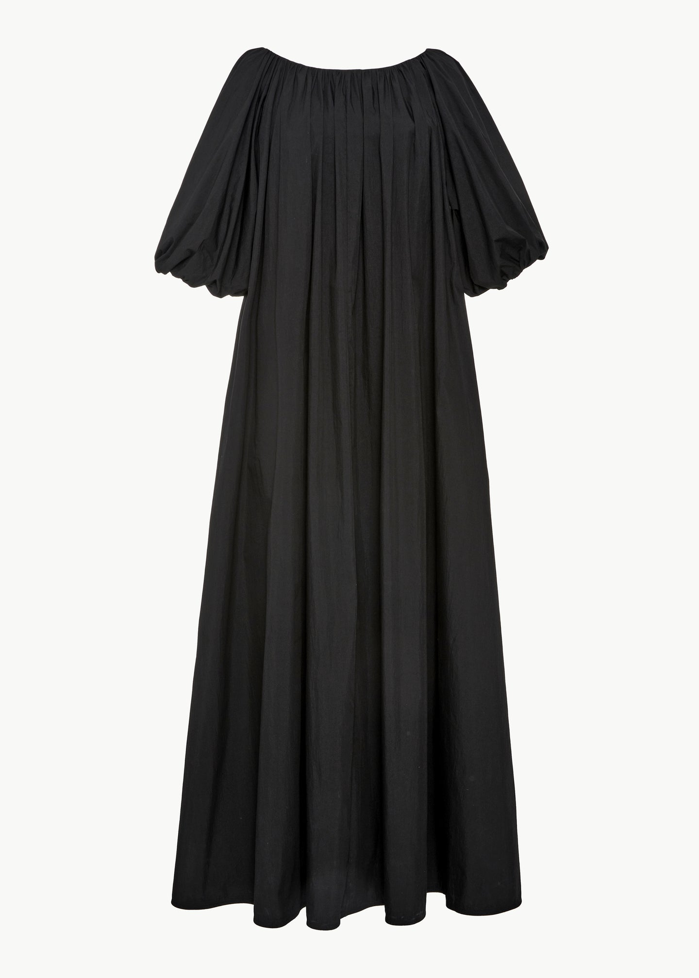 Ruched Sleeve Dress in Cotton - Black - CO