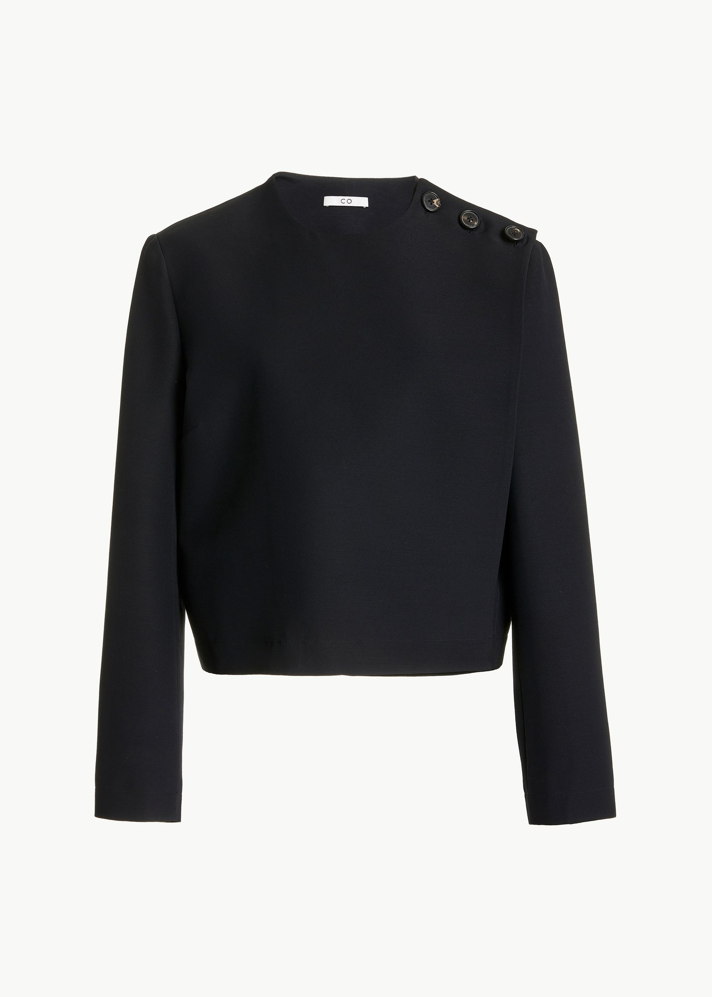 Cropped Jacket in Viscose Wool - Black - CO