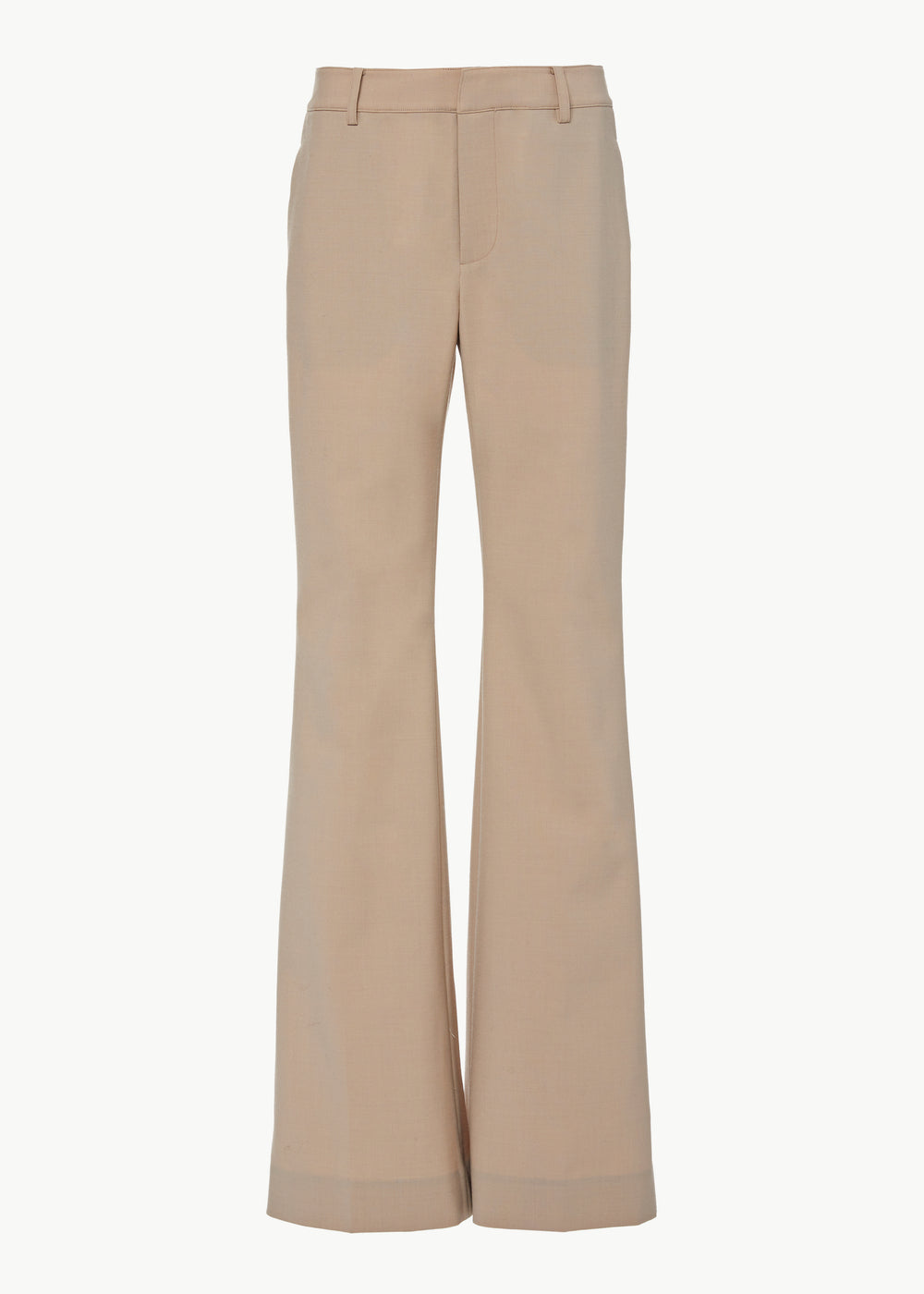 Flare Leg Trouser in Stretch Wool - Beige - CO