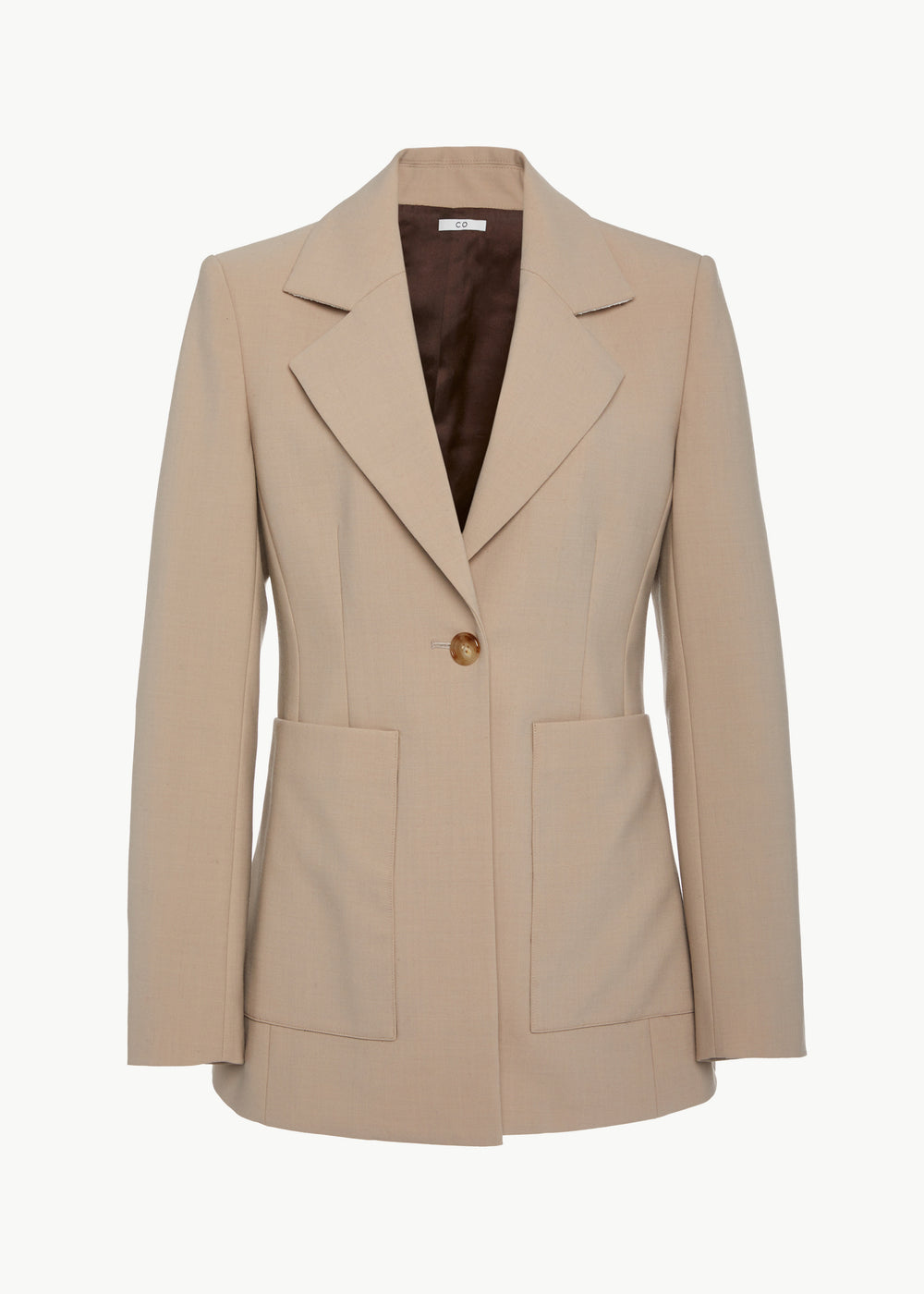 Single Breasted Blazer in Stretch Wool - Beige - CO