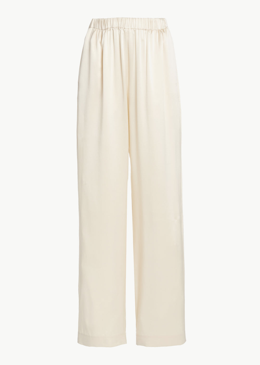 Elastic Waistband Pant in Silk Charmeuse - Ivory - CO