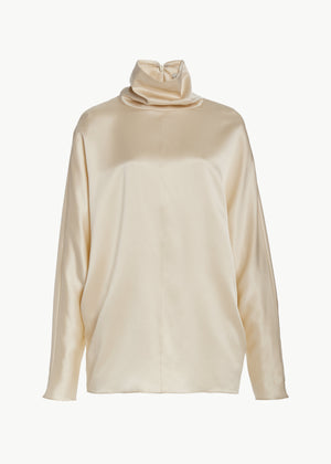 Cowl Neck Blouse in Silk Charmeuse - Ivory - CO