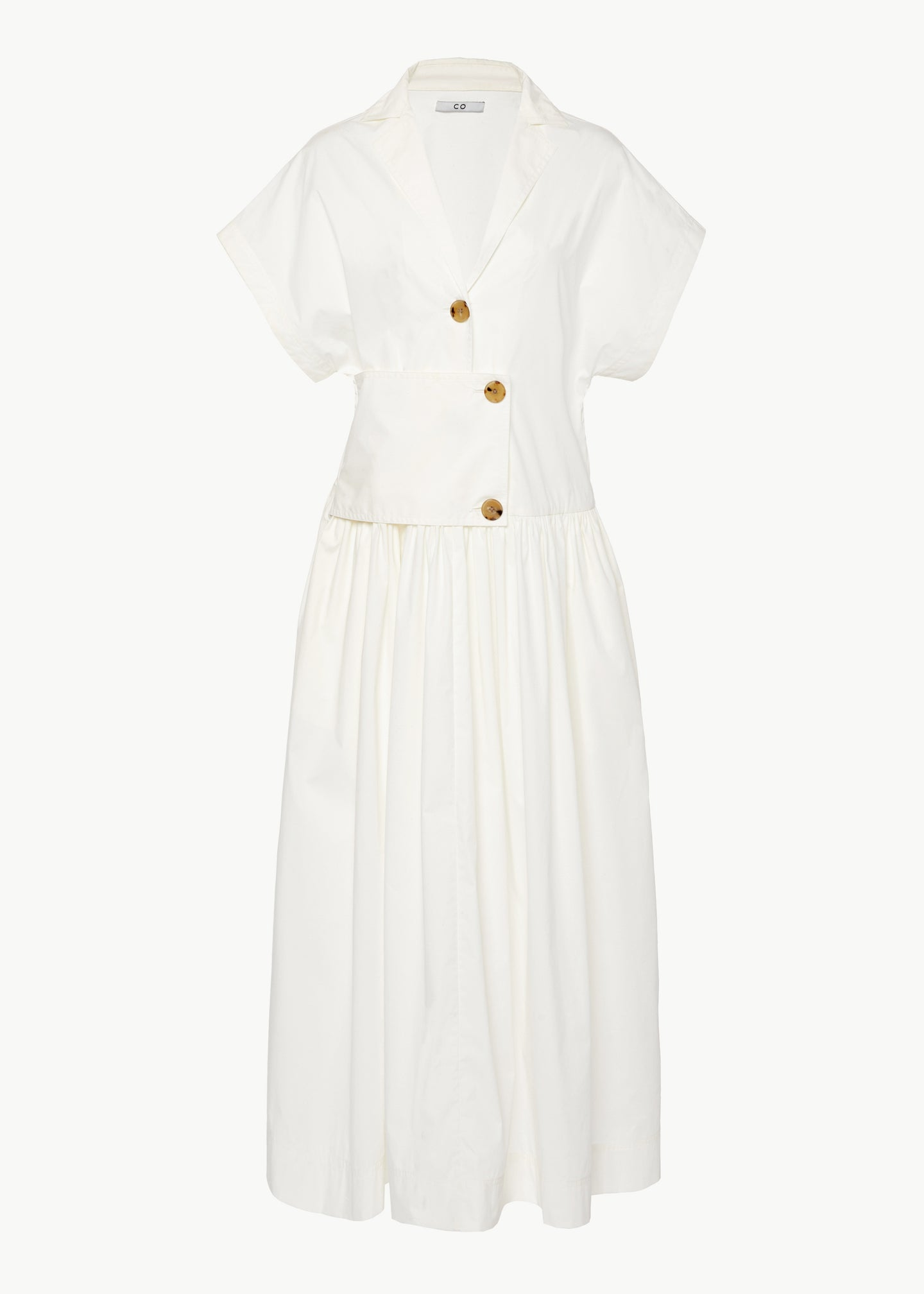 Short Sleeve Dress in Cotton - White - CO