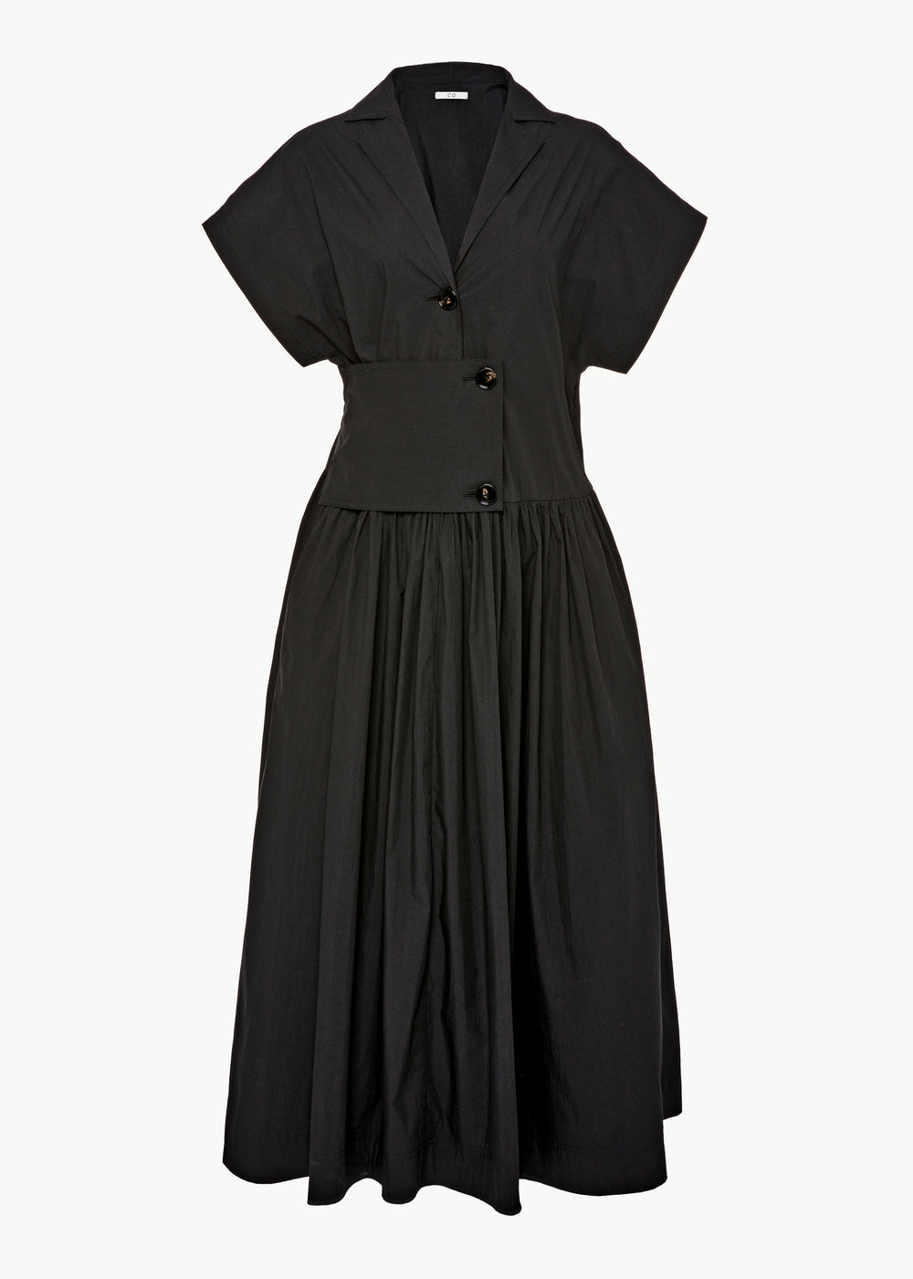 Short Sleeve Dress in Cotton - Black - CO