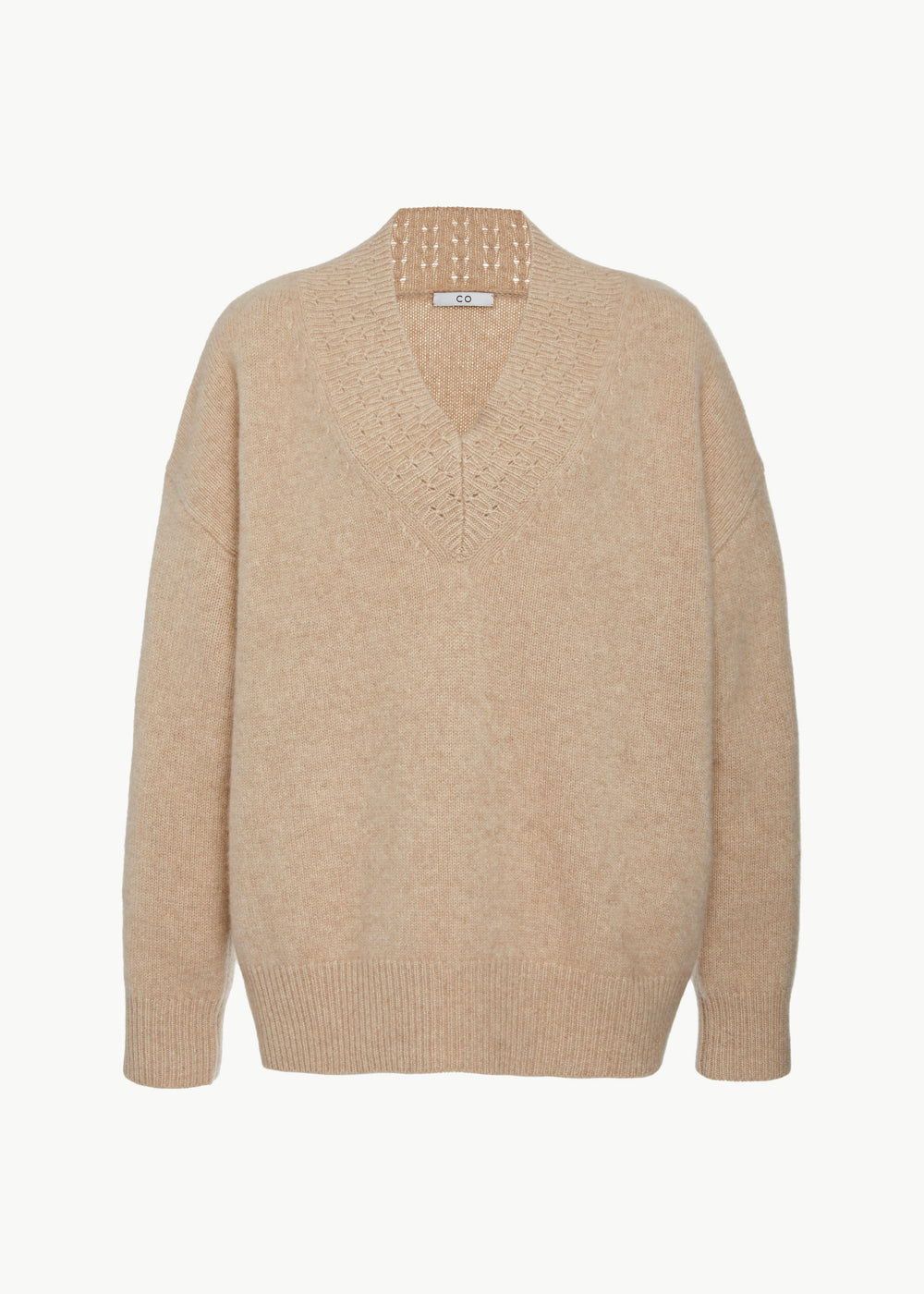 V-Neck Sweater in Cashmere - Sand - CO