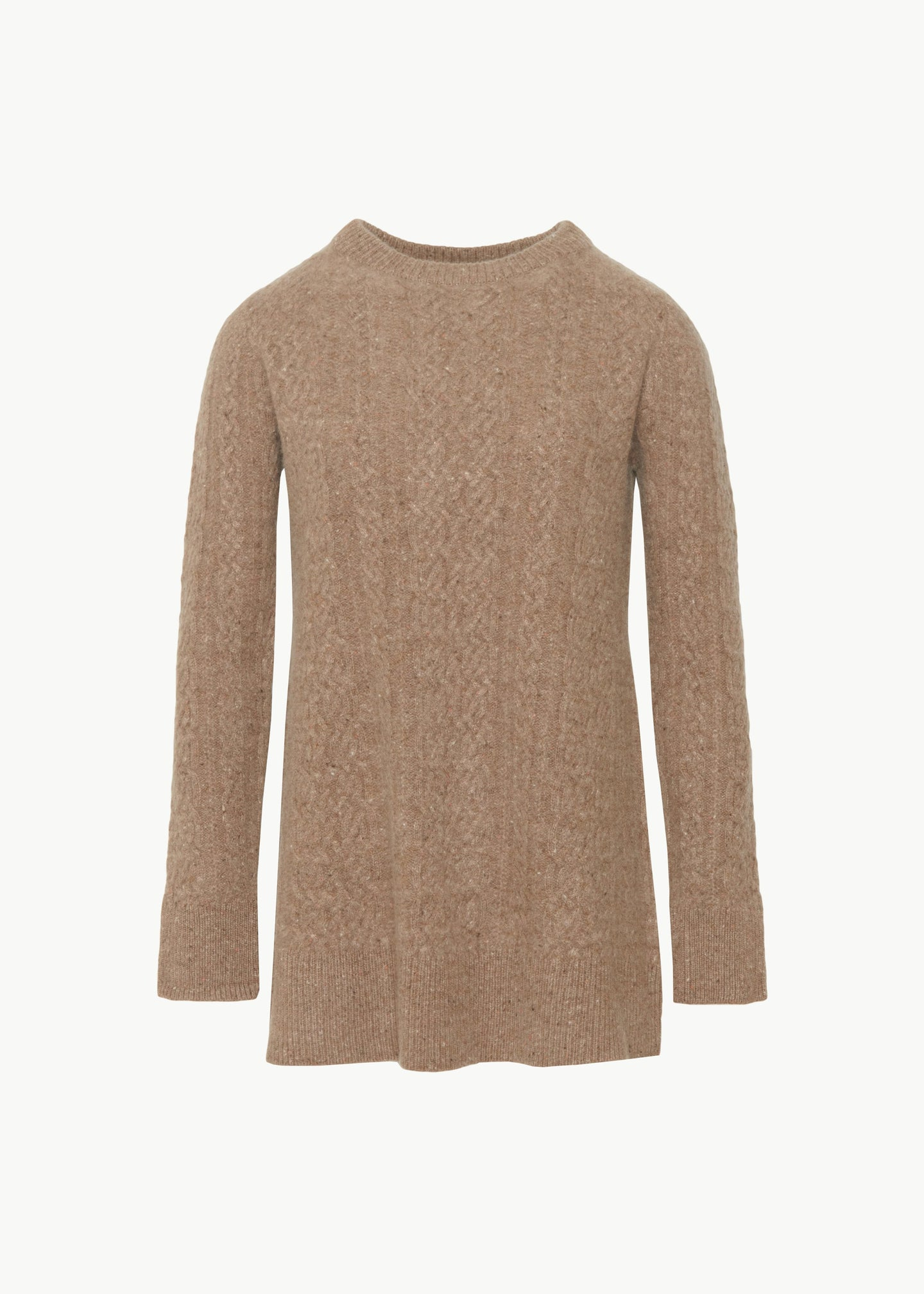 Cable Knit Sweater in Cashmere - Speckled Pecan - CO