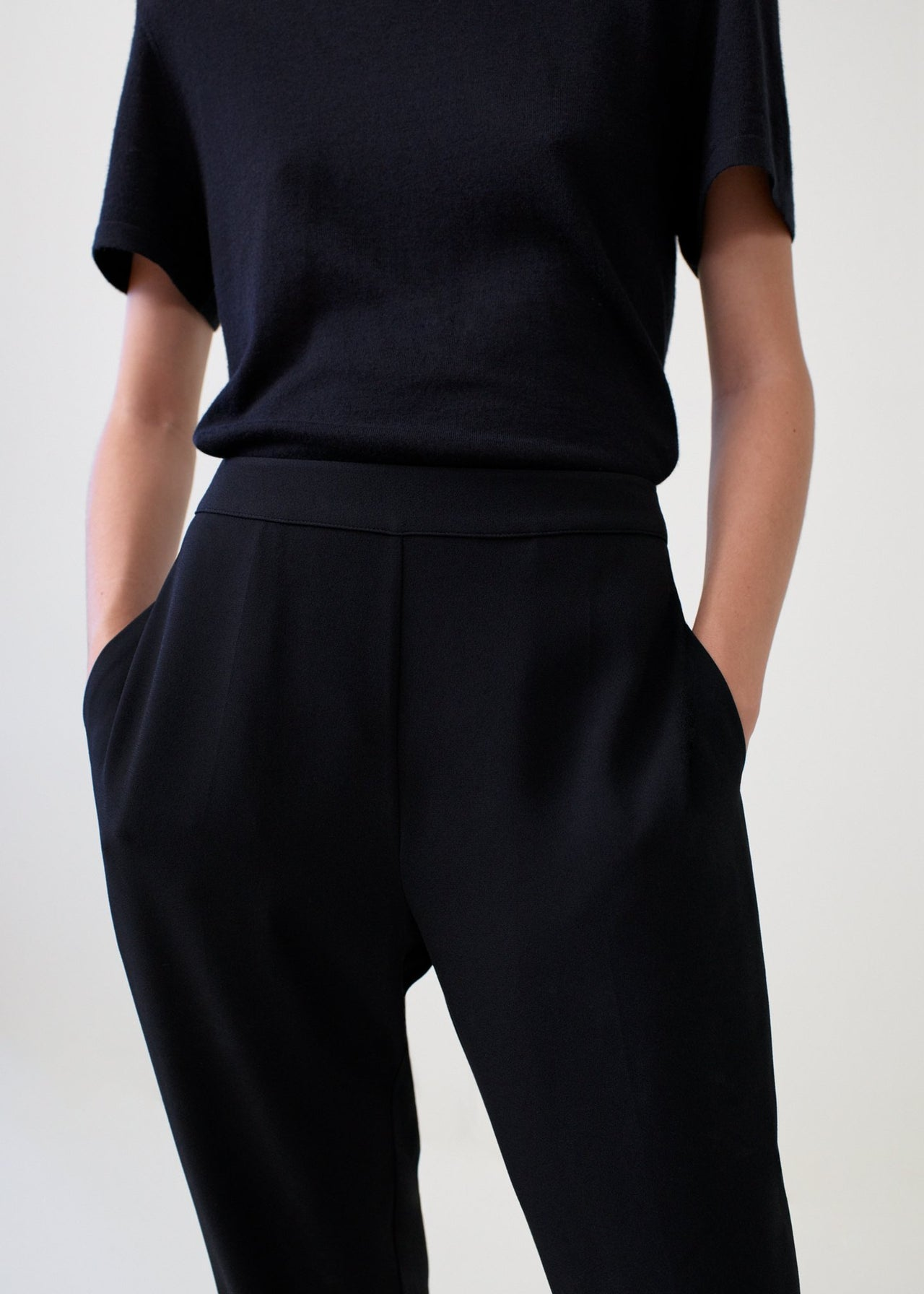 Black Cashmere T-Shirt and Jogger Pants