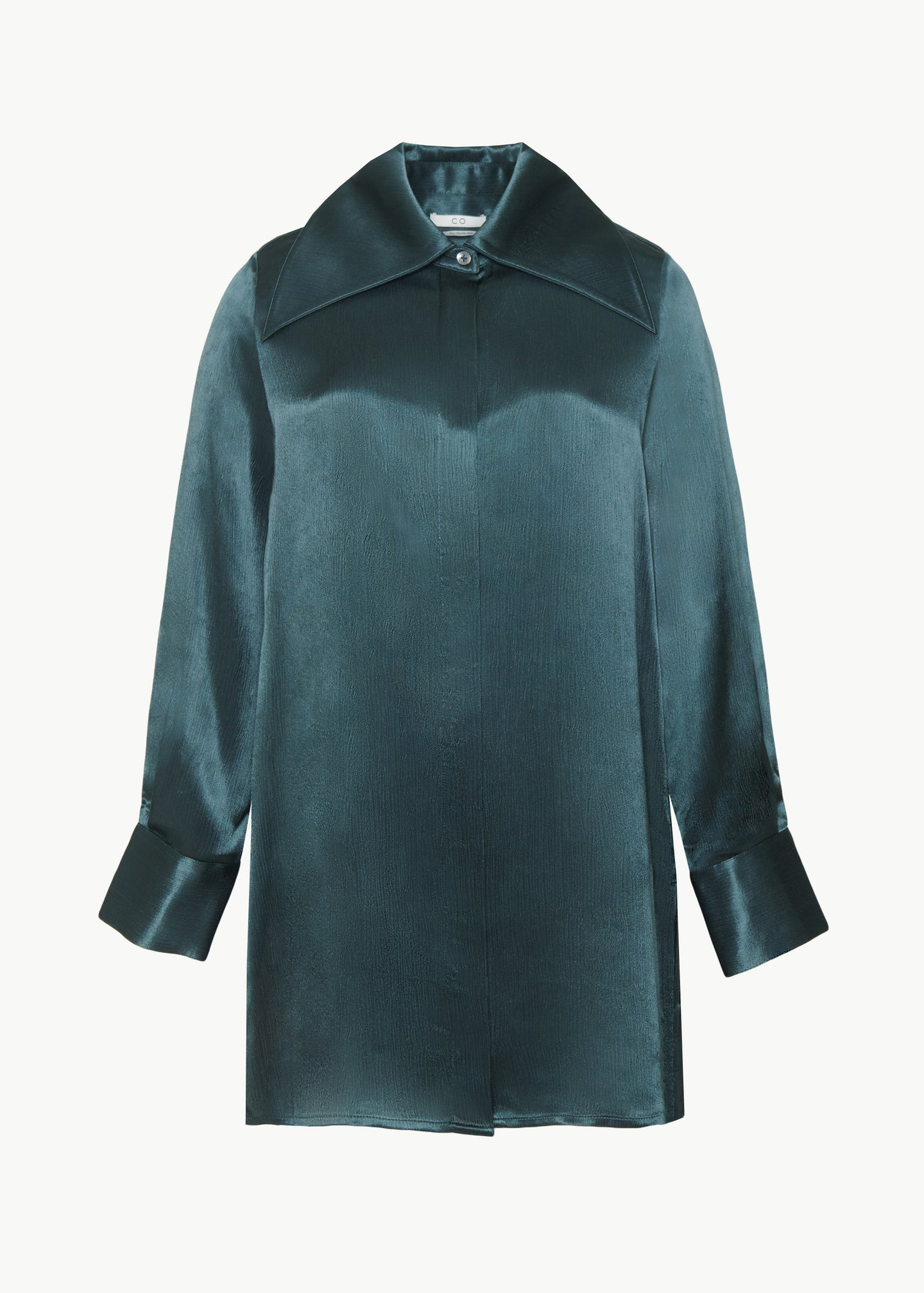 Button Down Blouse in Crinkle Viscose - Teal - CO