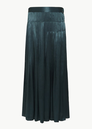 Pleated Skirt in Crinkle Viscose - Teal - CO