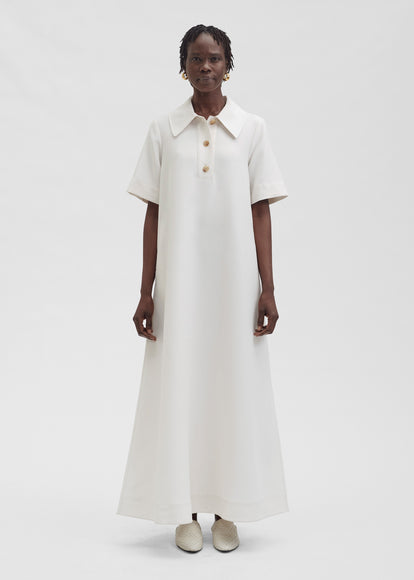 Short Sleeve Polo Dress In Viscose Wool - Ivory - CO