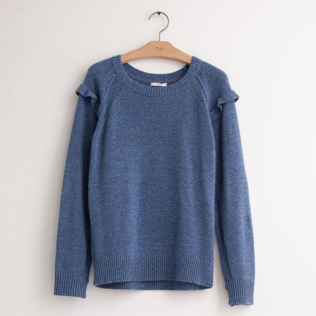 CO - Long sleeve round neck sweater with shoulder ruffle in blue wool boucle