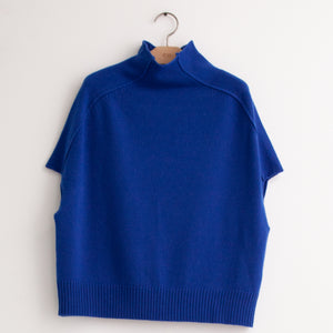 Mock neck sweater with cap sleeve in cobalt wool cashmere - CO