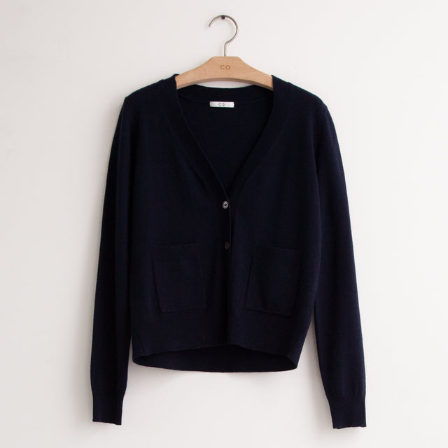 CO - Long sleeve cropped three button v neck cardigan with patch pockets in soft navy wool