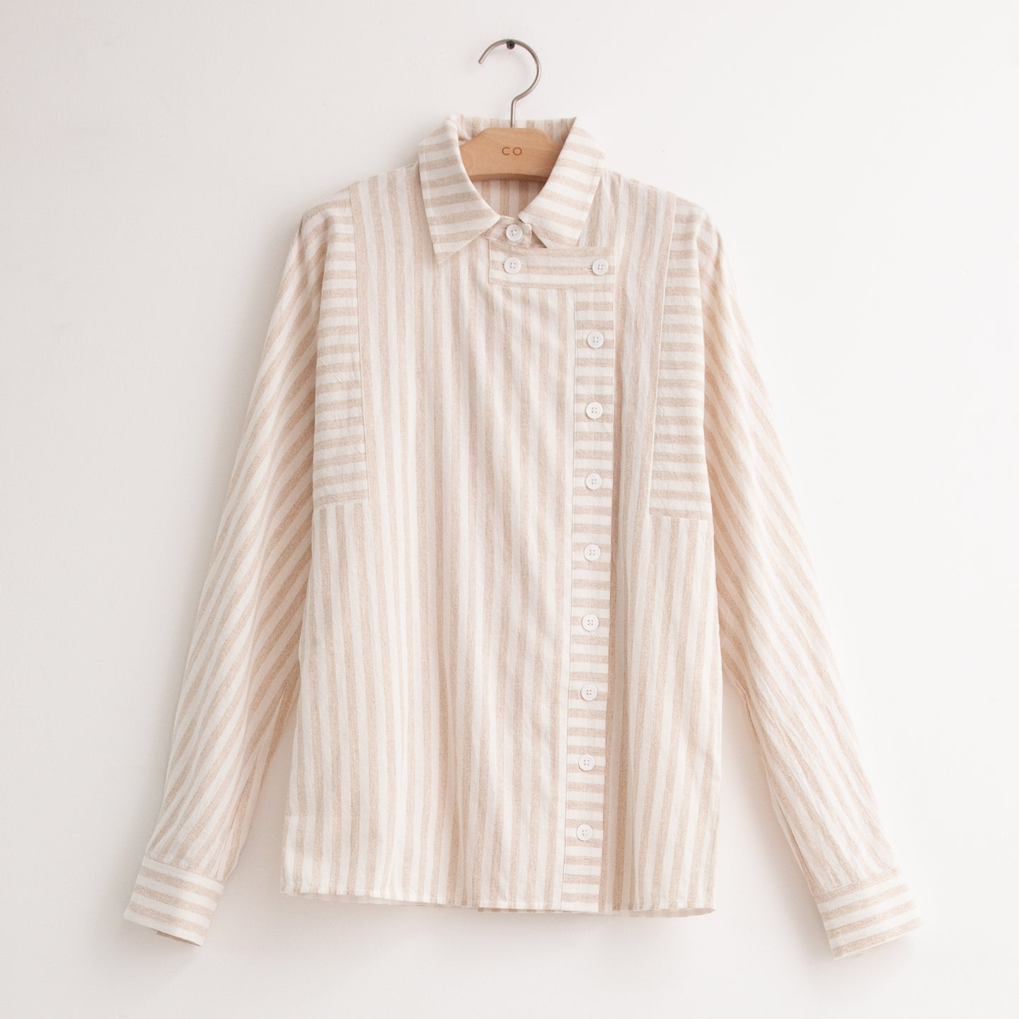 Long sleeve blouse with asymmetrical buttonfront placket in taupe striped cotton linen - CO