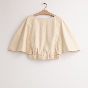 CO - Flutter sleeve blouse with gathered elastic waist and back zip in featherweight butter leather