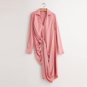 Long sleeve shirt dress with asymmetrical knot detail in pink viscose broadcloth - CO