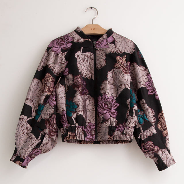 CO - Zip front jacket with gathered sleeve detail in floral jacquard