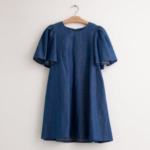 CO - Short sleeve round neck mini dress in indigo cotton denim