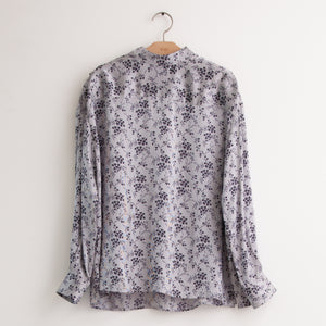 Long sleeve tie neck blouse in allover grey/blue floral print silk - CO