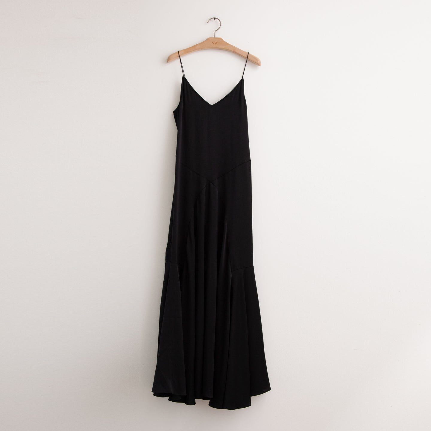 CO - Thin strap v neck maxi dress with ruched paneling detail in black stretch crepe