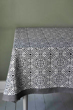 Load image into Gallery viewer, Tablecloth Organic Cotton Block Print - Tiles Black 150x250 cm