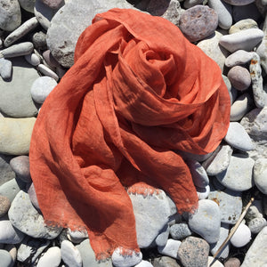 Scarf Washed Linen Coral