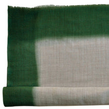 Load image into Gallery viewer, Scarf Dip Dye Border Wool/Silk Linen/Green