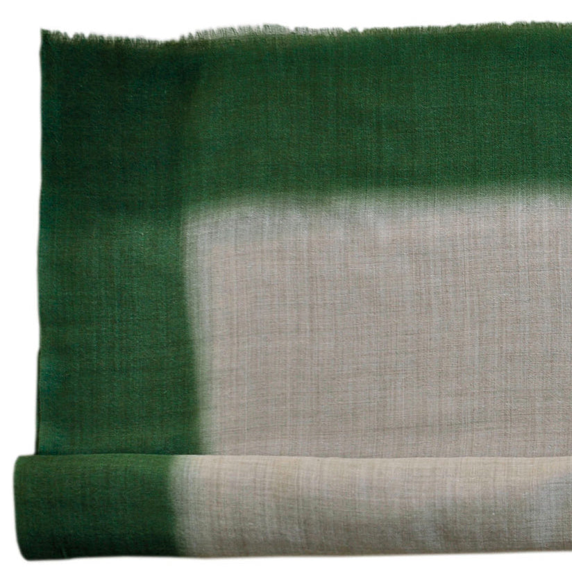 Scarf Dip Dye Border Wool/Silk Linen/Green