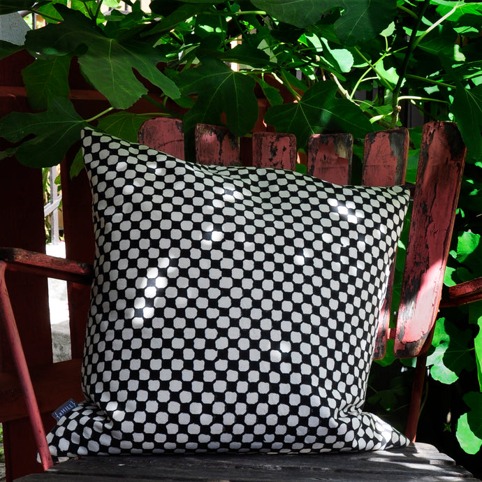 Cushion Cover Dots Black Organic Cotton