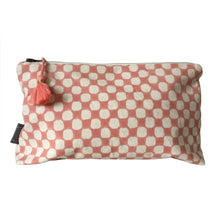 Load image into Gallery viewer, Make-up & Toiletry Bag Organic Cotton Block-print Dots Rose