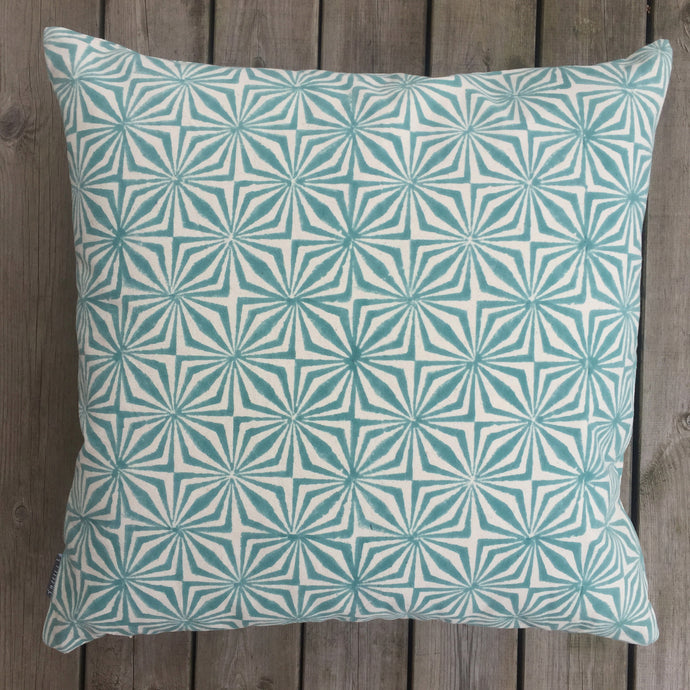 Cushion Cover Facet Aqua Organic Cotton