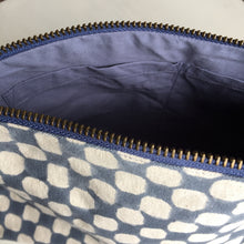 Load image into Gallery viewer, Make-up & Toiletry Bag Organic Cotton Block-print Dots Blue