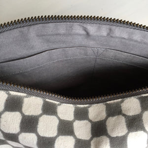 Make-up & Toiletry Bag Organic Cotton Block-print Dots Grey
