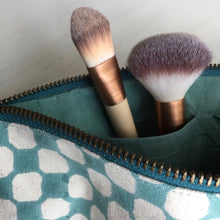 Load image into Gallery viewer, Make-up & Toiletry Bag Organic Cotton Block-print Dots Aqua