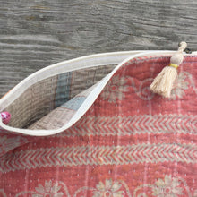 Load image into Gallery viewer, Vintage Kantha Pouch - Soft Pink Border